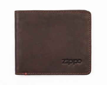 Leather bi-fold wallet (with coins). Brown