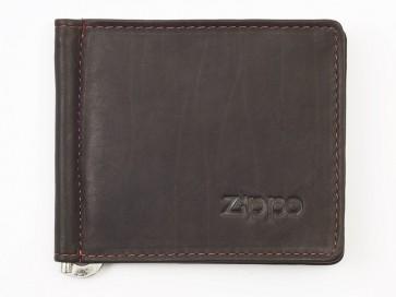 Leather bi-fold money clip. Mocha