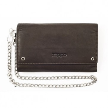 Leather biker wallet. Mocha