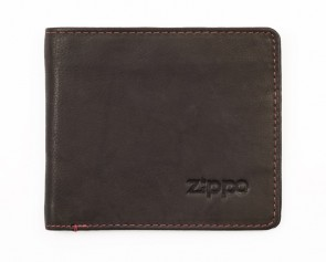 Leather bi-fold wallet (with coins). Mocha