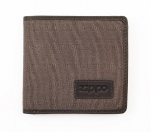 Leather & Canvas wallet. Grey Canvas