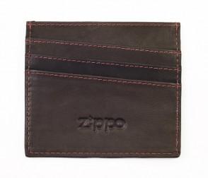 Leather credit card holder. Mocha